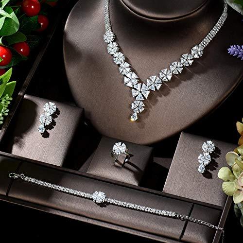 LIYDENG Juego de collar y pendientes para mujer, diseño de flores grandes, para novia, boda, fiesta, (color: chapado en platino)