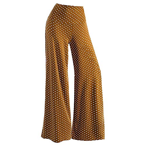 Meikosks Womens Point Print Trousers Stretchy Palazzo Wide Leg Lounge Pants Fashion Costume Brown