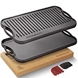 Overmont Pre-seasoned Cast Iron Reversible Griddle Grill Pan with handles for Gas Stovetop Open Fire Oven, 17x9.8'- One tray, Scrapers Included