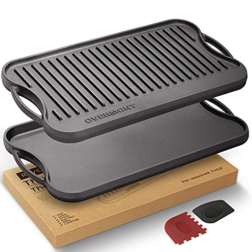 Overmont Pre-Seasoned Cast Iron Reversible Griddle Grill Pan with Handles for Gas Stovetop Open Fire Oven, 43.18*24.89CM (17x9.8') - One Tray, Scrapers Included