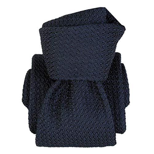 Segni et Disegni. Cravate grenadine de soie. Beverly, Soie. Bleu, Uni. Fabriqué en Italie.