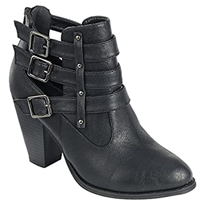 Forever Women's Buckle Strap Ankle Booties camila62,Black,8.5