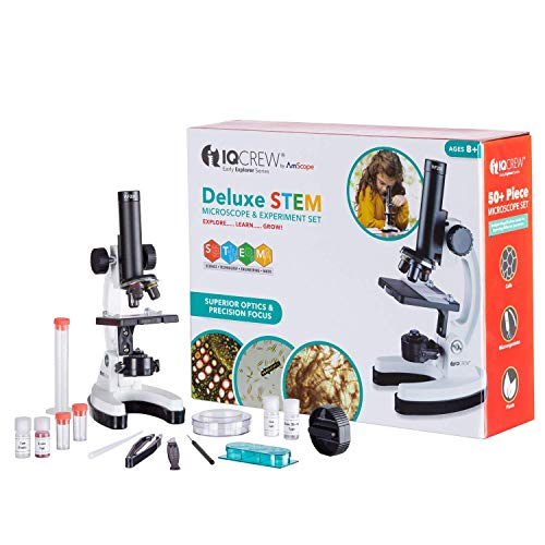 IQCrew by AmScope Kids Beginner Microscope STEM Science Kit for Students w/Premium Optics, All Metal Frame, and 55+ pc Accessory Set w/Slides, Tools, & Experiment