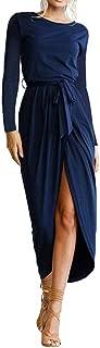 Jojckmen Women Girls Long Sleeve Dress Front Split Strap Summer Round Neck Dress