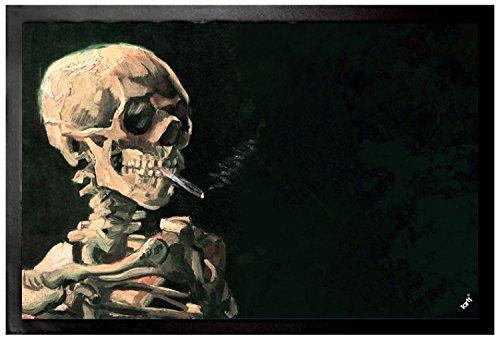 1art1 Vincent Van Gogh Door Mat | Design Floor Mat - Skull with Burning Cigarette, 1886 (24 x 16 inches)