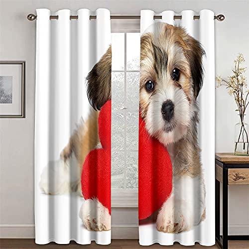YUNSW Cortinas 3D Realistas para Gatos Y Cachorros para Sala De Estar Y Dormitorio, Cortinas Opacas Y con Aislamiento Térmico, Juego De 2 (Total Width) 264x(Height) 210cm