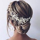 Easedaily Bride Wedding Hair Vine Flower Leaf Headband Pearl Headpieces Crystal Bridal Hair Accessories for Women and Girls (Silver)
