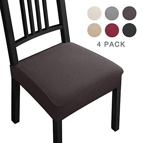 Fundas para sillas Pack de 4 Fundas sillas Comedor Fundas elásticas,Fundas de Asiento para Silla,Diseño Jacquard Cubiertas de la sillas,Extraíbles y Lavables-Decor Restaurante(Paquete de 4,Marrón)-B