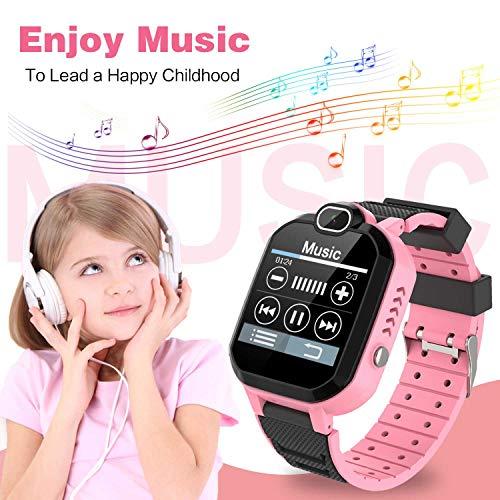 Kinder SmartWatch - MP3 Musik 7 Spiele Kids Smart Watch HD Touchscreen SOS Voice Chat Scherzt Intelligente Uhr mit Telefon Kamera Wecker Recorder Rechner Geschenk für Kinder Junge Mädchen (Pink)
