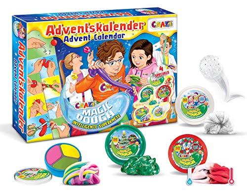 CRAZE 24744 Adventskalender Magic Dough Weihnachtskalender mit Knete für Mädchen Jungen Spielzeugkalender, kreative Inhalte, Tolle Überraschungen