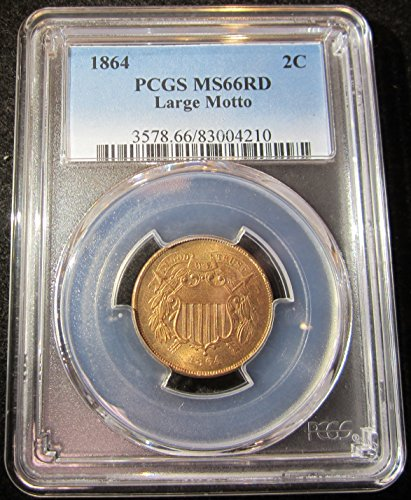 1864 Two Cent Piece Two-Cent MS-66 Red PCGS