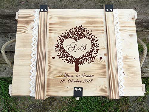 Erinnerungskiste Vintage aus Holz mit Lebensbaum - Hochzeitsgeschenk personalisiert - Erinnerungskiste mit Gravur - Hochzeitskiste - Hochzeitstruhe