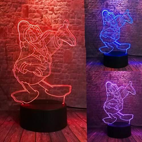 Schöne 3D Film Figur Nette Don Donald Duck Goofy Mickey Der Freund Led 7 Farbwechsel Nachtlicht Kind Junge Mädchen Weihnachten Spielzeug Giftusb Wiederaufladbare Kinder Ältere Nacht Feeds Präsentieren