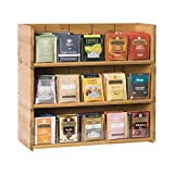 Bamboo-Tea-Bag-Organizer-Storage-Box-3-Tier-Stackable-Holder Tea Bag Box Natural Wood Wall Mount Tea Chests with Acrylic for tea bags Office Kitchen Cabinet Pantry
