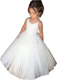 Ghdress White Communion Dresses Lace Flower Girls Dress for Wedding Tulle Ball Gowns for Kids
