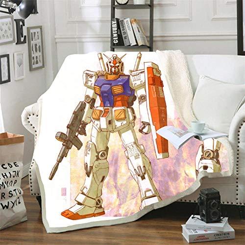 Mmjjshdp Mantas para Cama Manta con Estampado 3D para Adultos Gundam Edredón De Viaje para Adolescentes Sofá Colcha Suave De Felpa para Mantener El Calor Colcha A 150X130Cm