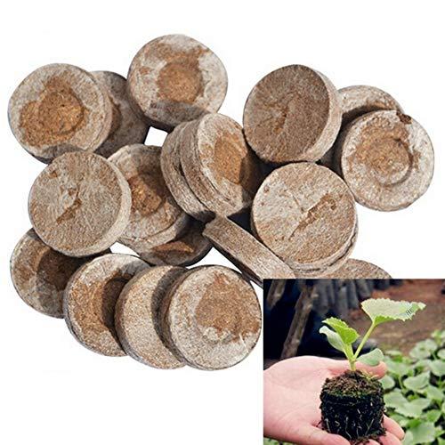 UNIE Torf-Pellets, 30 mm, Samen-Startstopfen, Faserboden-Block-Dünger, Nährstoff-Starter, 50 Stück