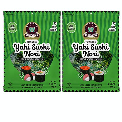 Toasted Yaki Sushi Nori, Natural Seaweed, Vegan, No MSG, No Preservatives, No Artificial Colors & Flavors, Parve Kosher, (2 Pack of 50 Full Sheets Total of 100 Sheets)