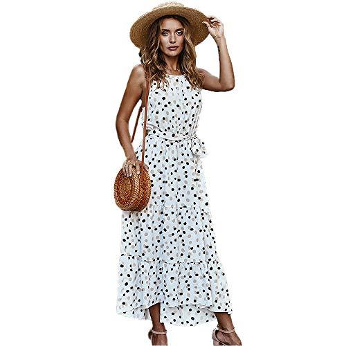 Vestido sin Espalda de Lunares de Verano para Mujer Vestidos Largos sin Mangas con Volantes en el Tobillo (Blanco, XL)