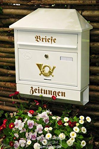 BTV Großer Massivstahl-Briefkasten, mit Rostschutz Walmdach W weiß schneeweiß Snow White Zeitungsfach Zeitungsrolle Postkasten