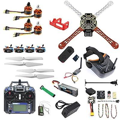 QWinOut DIY RC Drone Kit F450-V2 FPV Quadcopter with Mini PIX Mini GPS Q6 4K Wide Angle Action Camera FPV Watch/FPV Goggles Full Set Drone Kit (FPV Goggles Version)