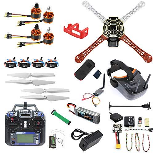 QWinOut DIY RC Drone Kit F450-V2 FPV Quadcopter with MINI PIX MINI GPS Q6 4K Wide Angle Action Camera FPV Watch/FPV Goggles Full Set Drone Kit (FPV Watch Version) (FPV Goggles Version)