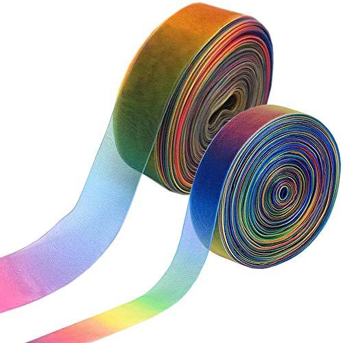 Bocotoer 2 Rollen Organzabänder Dekobänder schimmernd durchscheinend für Geschenkbasteln, Regenbogenfarben