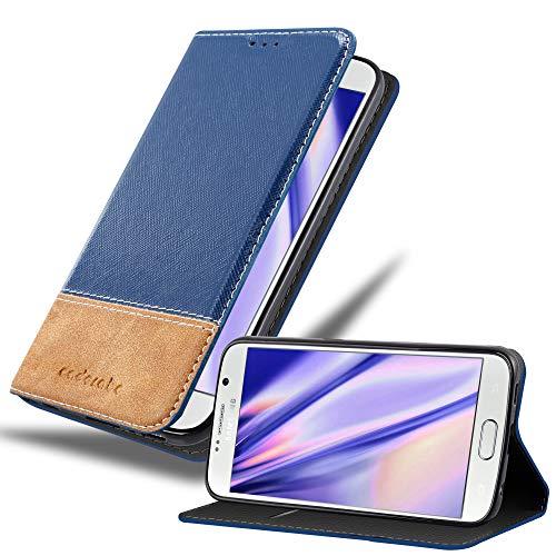 Cadorabo Funda Libro para Samsung Galaxy S6 en Azul MARRÓN – Cubierta Proteccíon con Cierre Magnético, Tarjetero y Función de Suporte – Etui Case Cover Carcasa