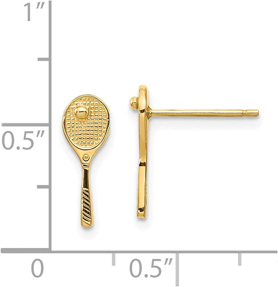 14k Yellow Gold Mini Tennis Racquet Ball Post Stud Earrings Button Sport Fine Jewelry For Women Gifts For Her