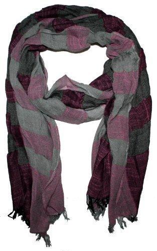 Exclusieve Crinkle Sjaal voor heren - Gentleman Sports - outlet king - grijs paars, 180 x 50 cm