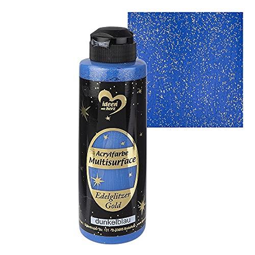 Ideen mit Herz Pintura acrílica multisuperficie con purpurina noble   pintura universal a base de agua   con brillo dorado noble   180 ml (azul oscuro)