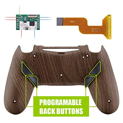 eXtremeRate Dawn Programable Remap Kit Botón de Reasignación para Playstaion 4 con Board de Actuelización&Carcasa Trasera Diseñada&4 Botones Traseros para PS4 Mando JDM 040/050/055(Grano de Madera)