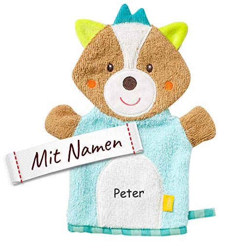 FEHN Kinder/Baby Fuchs Waschhandschuh mit Namen bestickt und Tiermotiv, Waschlappen personalisiert zur Geburt, Taufe oder als Geschenk zum Geburtstag, ab 0+ Monaten, Junge