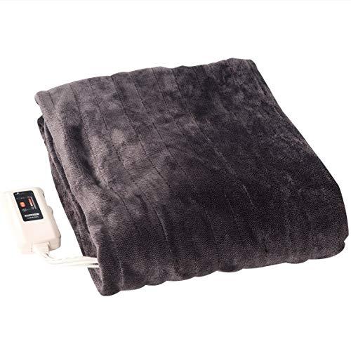 [山善] ふんわりやわらか 電気掛・敷毛布 (丸洗い可能) 188×130cm ミックスフランネル素材 室温センサー付 ブラウン YMK-MF41(T) [メーカー保証1年]
