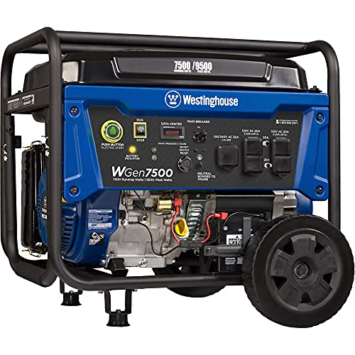 Westinghouse Outdoor Power Equipment WGen7500 Portable Generator with Remote Electric Start 7500 Rated Watts & 9500 Peak Watts, Gas Powered, CARB Compliant, Transfer Switch Ready