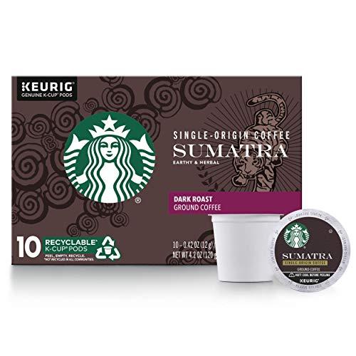 Starbucks Dark Roast K-Cup Coffee Pods — Sumatra for Keurig Brewers — 1 box (10 pods)