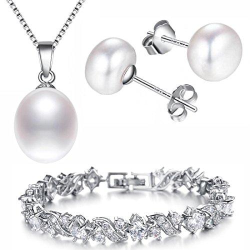 Kim Johanson Conjunto de joyas para mujer * White Pearl * en plata con auténticas perlas de agua dulce I collar con colgante y pendientes de plata de ley 925 I pulsera rodiada