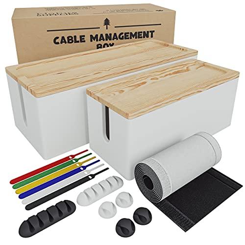 Nature Supplies Set Scatole Raccogli Cavi in Legno di Pino - 1 Scatola Coprifili Media da Scrivania, 1 Cable Box Nascondi Fili Grande da Pavimento (Bianco)