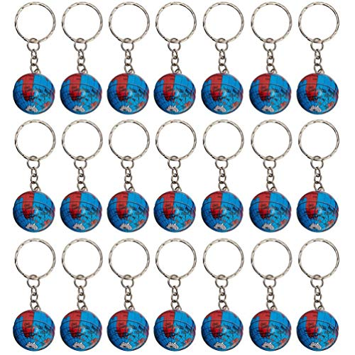 BraveWind 24 Pack 1' Globe Keychain Mini Earth Globe Keyring Pendant Educational Reward Toy for Bag Accessory,Back to School Item,Arts & Crafts