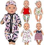 ZITA ELEMENT 5 Set Puppenkleidung Bekleidung Zubehör für 35-46cm Babypuppe Puppen Kleider Onesies für 43 cm 18 Zoll Kleidung - Xmas Gift