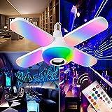 XUANWEI E27 RGB Bluetooth Música Luz de cuatro hojas 50W Control remoto inteligente Colorido Luz de bombilla de música plegable Luz de techo LED