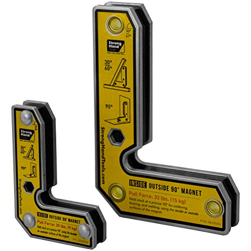 Strong Hand Tools, Angle Magnetic Square Kit, Inside/Outside Magnets, Fixed Angle, 90° (30°, 60°), Mag. Pull Force 20/33 lbs, 3″/5