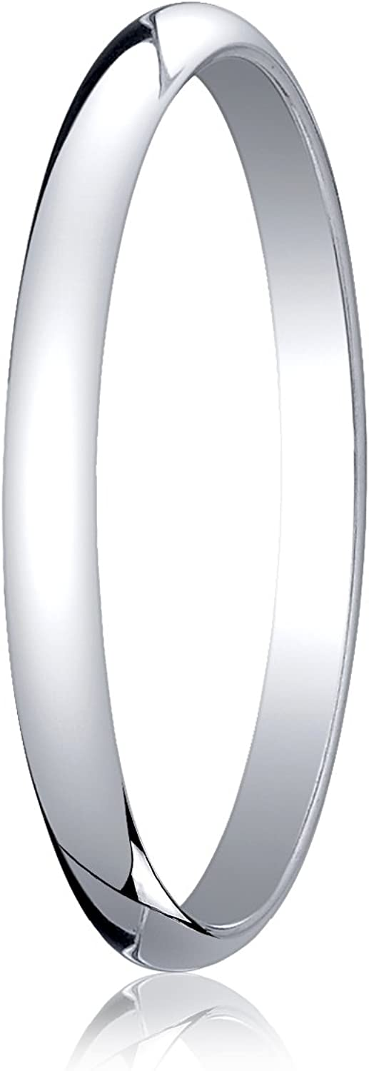 Women's 18K White Gold 2mm Traditional Dome Oval Wedding Band Ring