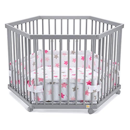 FabiMax Laufgitter 6-eckig mit Laufgittereinlage rosa Sterne auf weiß, stufenlos höhenverstellbar, Parkettrollen, Buche, grau lackiert