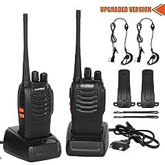 CACAGOO Walkie Talkie 2 x Radio, PMR446 1500 mAh 16 canaux 6 km Portée Radio rechargeable, avec lampe de poche rechargeable et écouteurs portables à double tête (2 pièces)