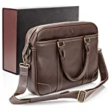 Luxorro Laptop Bag for Men | Soft, Messenger Bag for Men W/Hand Stitching | Lasts A Lifetime | Computer Bags W/Unique Wire Hooking System Included | Fits 15-inch Laptop, Dark Brown