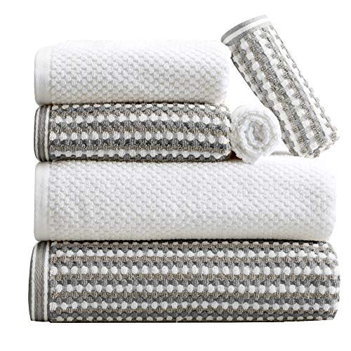 6-Piece Towel Set. 100% Cotton Multi-Striped Bathroom Towels. Quick Dry and Absorbent Towels. Set Includes 2 Bath, 2 Hand, and 2 Wash. Milos Collection. (6 Piece, Dark Gray / Light Gray)