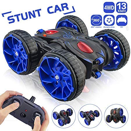 Remote Control Car, RC Stunt Car 2.4Ghz 8 Mph High Speed All Terrain Off Road 4WD, Double Sided 360° Rotation & Flips RC Car Toy with 6 AAA Batteries Included for 3-12 Years Old Boys & Girls Christmas