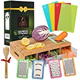 ZEEMBU Bamboo Cutting Board with Trays -Tidy Board – Prepdeck Meal Prep Station Cutting Board with 4 Graters, 4 Containers with Bamboo Lids, Colorful Inserts – Smart Food Prep Station.