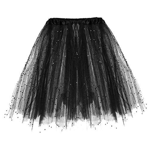 Andouy Damen Tutu Rock Tüll Sparkly Pailletten Balletttanz Organza 50s Jahre Kostüm Mini Dress-up Größe 36-44(36-44,Schwarz)